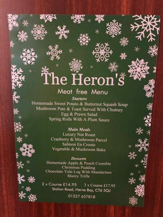 Christmas Meat Free Menu